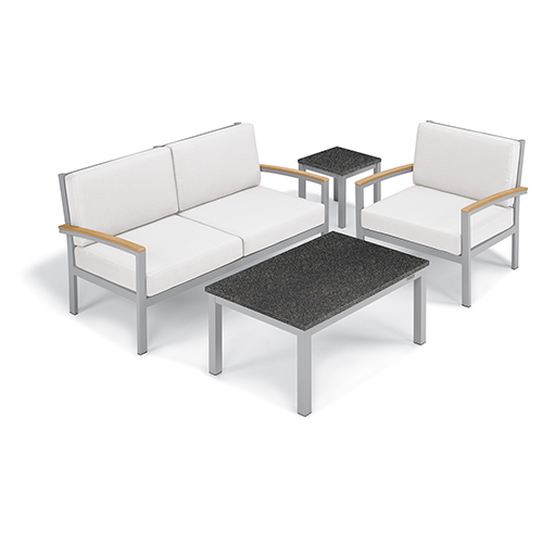Oxford Garden Travira Eggshell White 4-Piece Seat and Table Chat Set