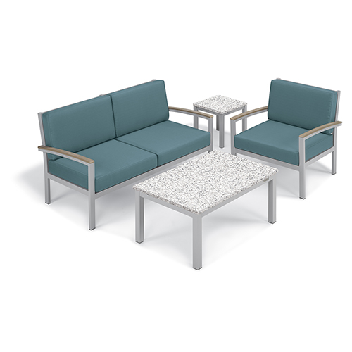 Oxford Garden Travira Ice Blue 4-Piece Seat and Table Chat Set