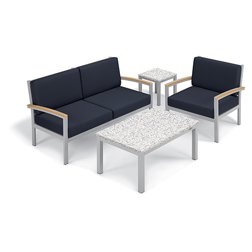 Oxford Garden Travira Midnight Blue 4-Piece Seat and Table Chat Set