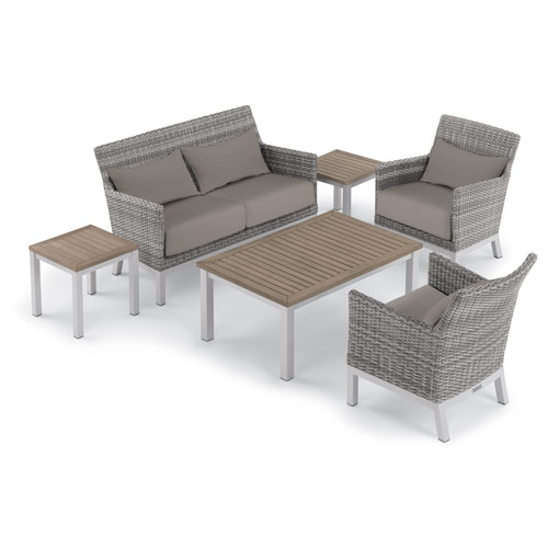Oxford Garden Argento 6 -Piece Lounge with Lumbar Pillows and Travira Table Set - Powder Coated Aluminum Frame - Resin Wicker