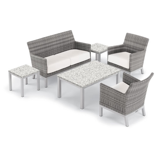 Oxford Garden Argento 6 -Piece Lounge and Travira Table Set - Powder Coated Aluminum Frame - Resin Wicker Argento Chair -