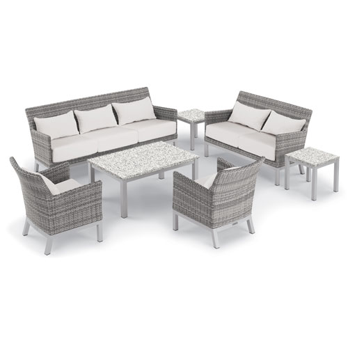 Oxford Garden Argento 7 -Piece Lounge with Lumbar Pillows and Travira Table Set - Powder Coated Aluminum Frame - Resin Wicker