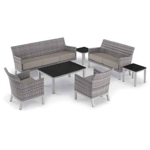 Oxford Garden Argento 7 -Piece Lounge and Travira Table Set - Powder Coated Aluminum Frame - Resin Wicker Argento Chair -