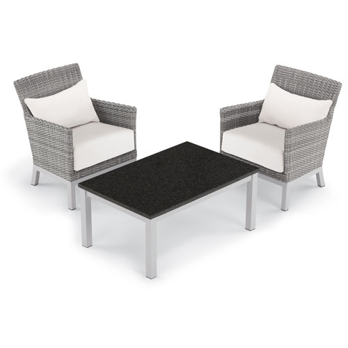 Argento 3 -Piece Club Chair with Lumbar Pillows and Travira Coffee Table Set - Powder Coated Aluminum Frame - Resin Wicker