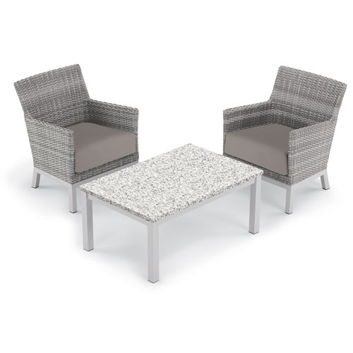 Oxford Garden Argento 3 -Piece Club Chair and Travira Coffee Table Set - Powder Coated Aluminum Frame - Resin Wicker Argento
