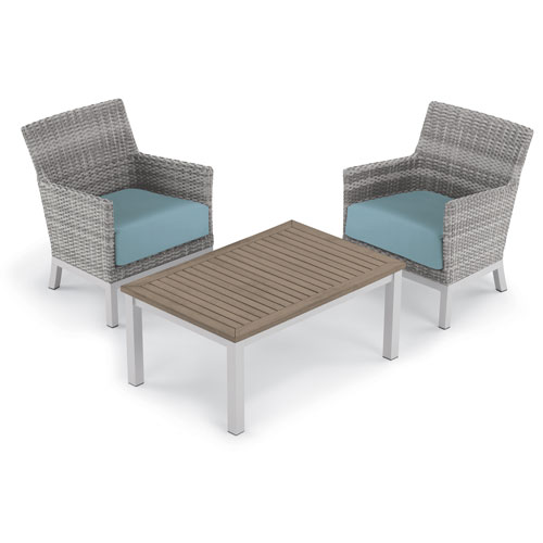 Argento 3 -Piece Club Chair and Travira Coffee Table Set - Powder Coated Aluminum Frame - Resin Wicker Argento Chair -