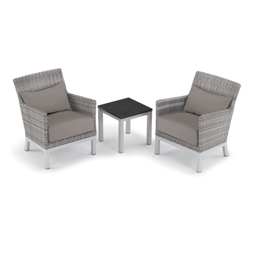 Oxford Garden Argento 3 -Piece Club Chair with Lumbar Pillows and Travira End Table Set - Powder Coated Aluminum Frame -