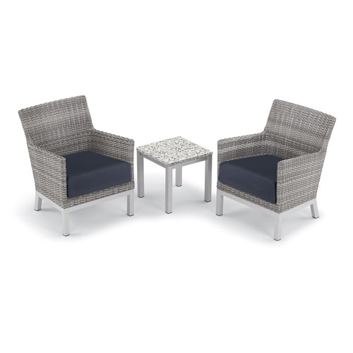 Oxford Garden Argento 3 -Piece Club Chair and Travira End Table Set - Powder Coated Aluminum Frame - Resin Wicker Argento