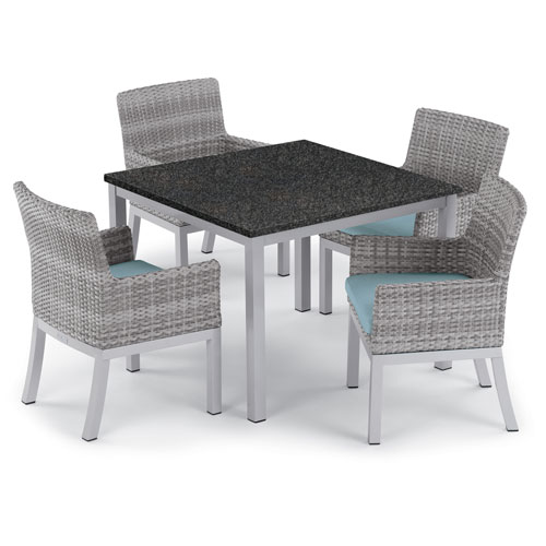 Travira 5 -Piece 39-Inch Dining Table and Argento Armchair Set - Powder Coated Aluminum Frame - Resin Wicker Argento Chair -