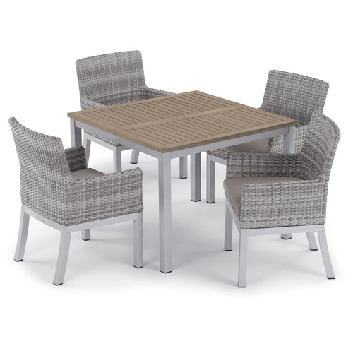 Oxford Garden Travira 5 -Piece 39-Inch Dining Table and Argento Armchair Set - Powder Coated Aluminum Frame - Resin Wicker