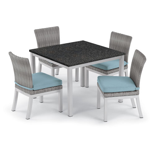 Oxford Garden Travira 5 -Piece 39-Inch Dining Table and Argento Side Chair Set - Powder Coated Aluminum Frame - Resin Wicker