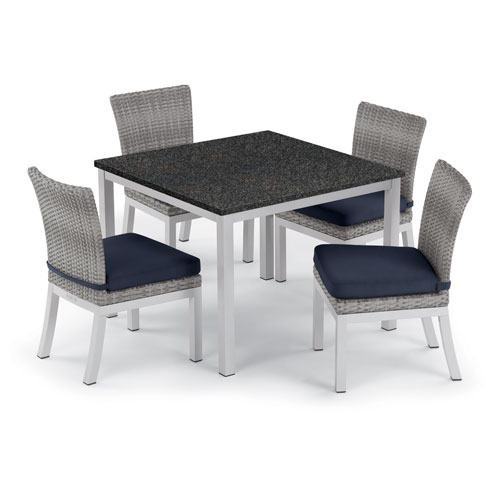 Travira 5 -Piece 39-Inch Dining Table and Argento Side Chair Set - Powder Coated Aluminum Frame - Resin Wicker Argento Chair