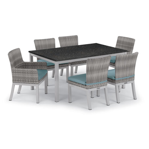 Oxford Garden Travira 7 -Piece 63-Inchx40-Inch Table and Argento Arm and Side Chair Set - Powder Coated Aluminum Frame -