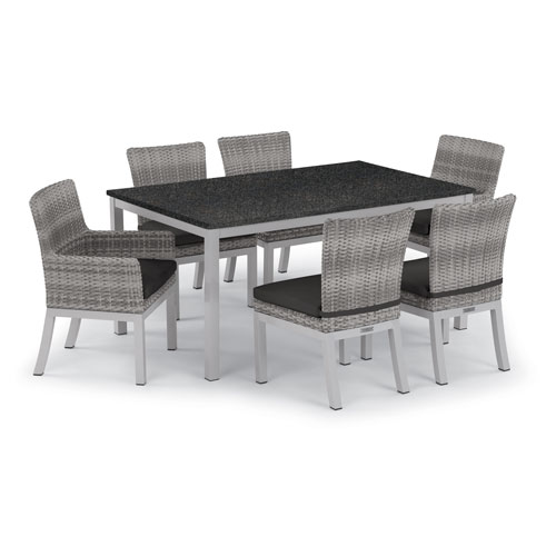 Travira 7 -Piece 63-Inchx40-Inch Table and Argento Arm and Side Chair Set - Powder Coated Aluminum Frame - Resin Wicker