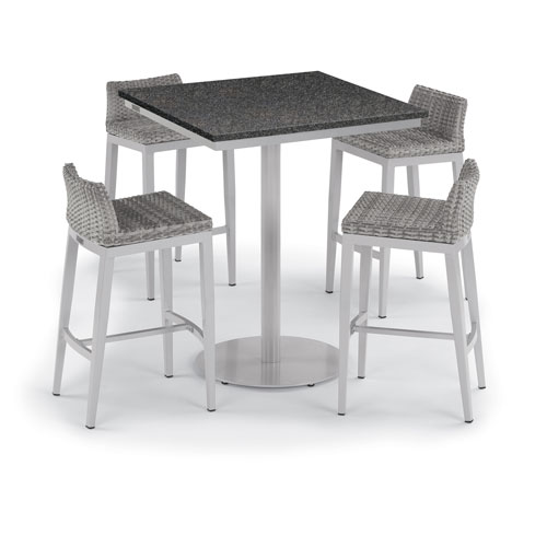 Travira 5 -Piece 36-Inch Square Bar Table and Argento Side Rails Bar Stool Set - Powder Coated Steel and Aluminum Frame -