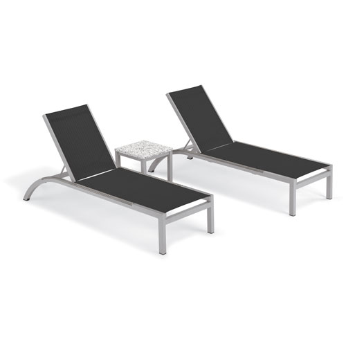 Argento 3 -Piece Chaise and Travira End Table Set - Powder Coated Aluminum Frame - Lite-Core Ash Table Top - Resin Wicker