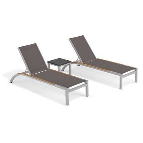 Oxford Garden Argento 3 -Piece Chaise and Travira End Table Set - Powder Coated Aluminum Frame - Lite-Core Charcoal Table Top