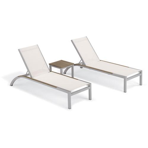 Argento 3 -Piece Chaise and Travira End Table Set - Powder Coated Aluminum Frame - Tekwood Vintage Table Top - Tekwood