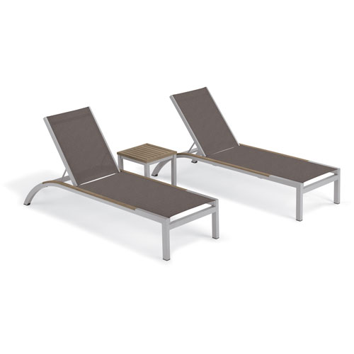 Oxford Garden Argento 3 -Piece Chaise and Travira End Table Set - Powder Coated Aluminum Frame - Tekwood Vintage Table Top -