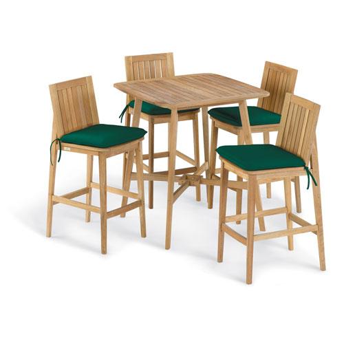 Oxford Garden Islay 5 -Piece 36-Inch Square Bar Set - Hunter Green Cushion