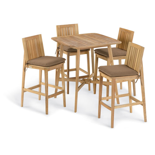 Oxford Garden Islay 5 -Piece 36-Inch Square Bar Set - Dupione Walnut Cushion