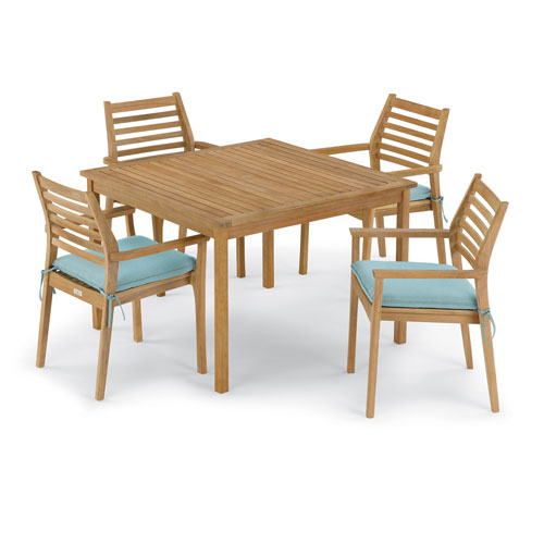 Oxford Garden Classic 5 -Piece 42-Inch Square Dining Table and Mera Stacking Armchair Set - Canvas Mineral Blue Cushion