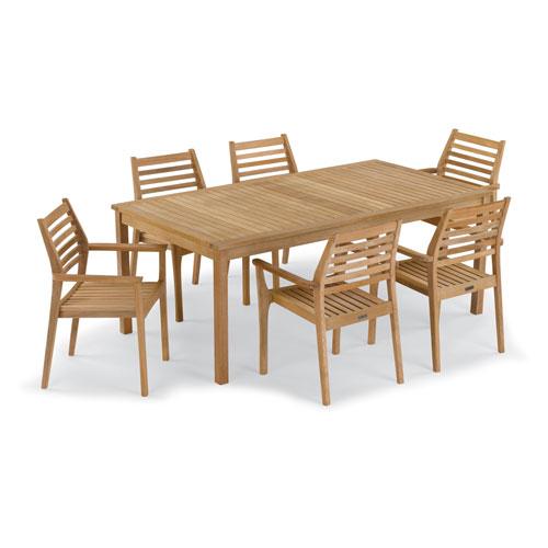Hampton 7 -Piece 76-Inchx40-Inch Table and Mera Stacking Armchair Set - No Cushion