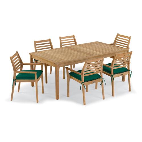 Oxford Garden Hampton 7 -Piece 76-Inchx40-Inch Table and Mera Stacking Armchair Set - Hunter Green Cushion