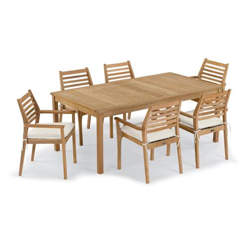 Oxford Garden Hampton 7 -Piece 76-Inchx40-Inch Table and Mera Stacking Armchair Set - Canvas Cushion