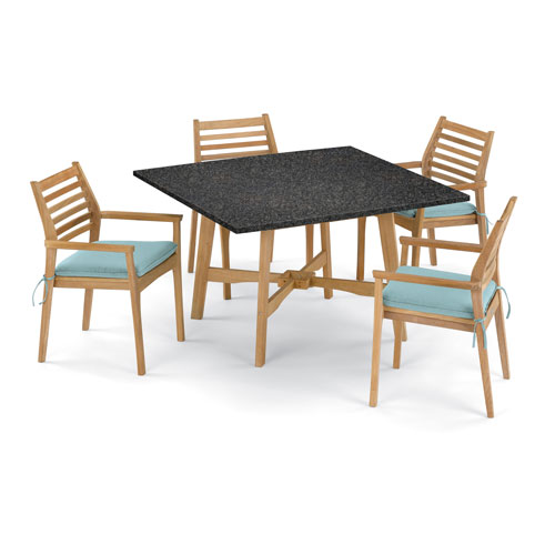 Oxford Garden Wexford 5 -Piece 48-Inch Dining Table and Mera Stacking Armchair Set - Shorea Natural Armchair - Lite-Core
