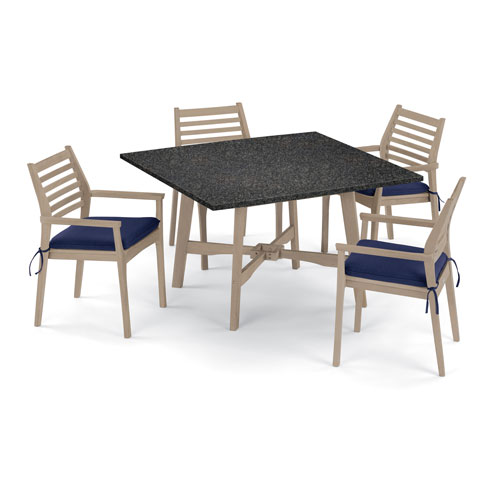 Wexford 5 -Piece 48-Inch Dining Table and Mera Stacking Armchair Set - Shorea Natural Armchair - Lite-Core Charcoal Table Top