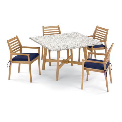 Oxford Garden Wexford 5 -Piece 48-Inch Dining Table and Mera Stacking Armchair Set - Shorea Natural Armchair - Lite-Core Ash