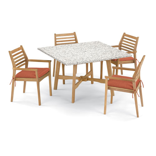Oxford Garden Wexford 5 Piece 48 Inch Dining Table And Mera Stacking Armchair Set