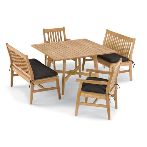 Wexford 5 -Piece Table, Chair, and Bench Dining Set - Shorea Natural Chair - Shorea Natural Table - Canvas Black Cushions