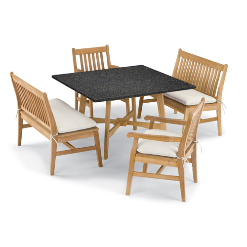 Wexford 5 -Piece Table, Chair, and Bench Dining Set - Shorea Natural Chair - Lite-Core Charcoal Table Top - Canvas Cushions