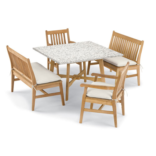Wexford 5 -Piece Table, Chair, and Bench Dining Set - Shorea Natural Chair - Lite-Core Ash Table Top - Canvas Cushions