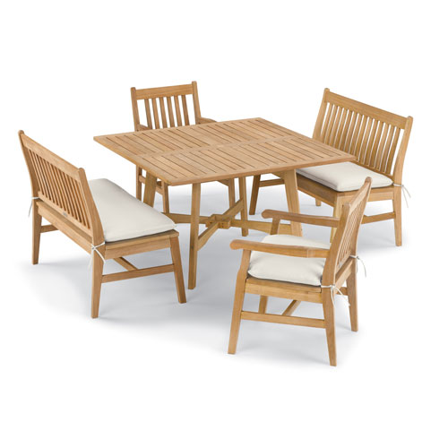 Wexford 5 -Piece Table, Chair, and Bench Dining Set - Shorea Natural Chair - Shorea Natural Table - Canvas Cushions