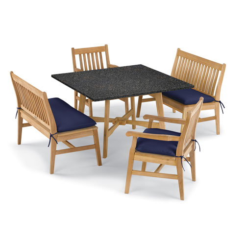Wexford 5 -Piece Table, Chair, and Bench Dining Set - Shorea Natural Chair - Lite-Core Charcoal Table Top - Navy Blue