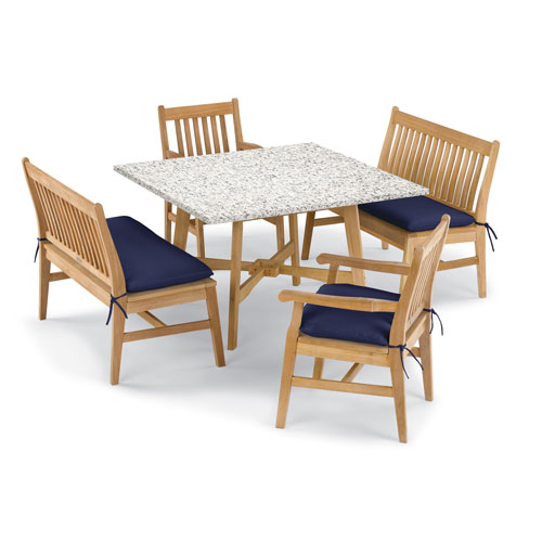 Wexford 5 -Piece Table, Chair, and Bench Dining Set - Shorea Natural Chair - Lite-Core Ash Table Top - Navy Blue Cushions
