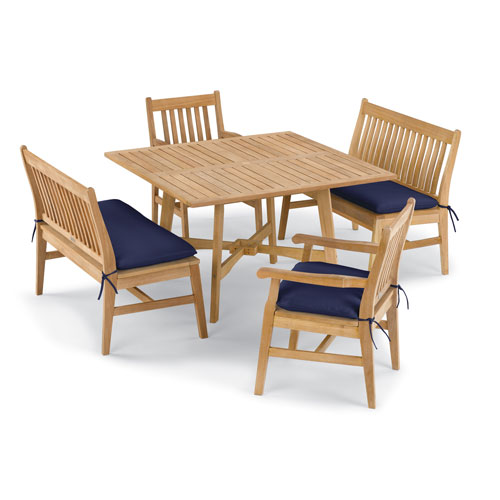 Wexford 5 -Piece Table, Chair, and Bench Dining Set - Shorea Natural Chair - Shorea Natural Table - Navy Blue Cushions