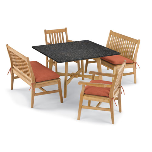 Oxford Garden Wexford 5 -Piece Table, Chair, and Bench Dining Set - Shorea Natural Chair - Lite-Core Charcoal Table Top -