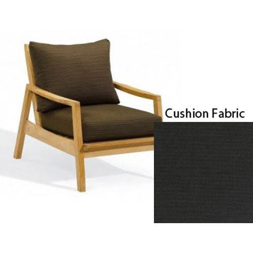 Oxford Garden Siena Natural Club Chair with Canvas Black Deep Seat Cushion Set