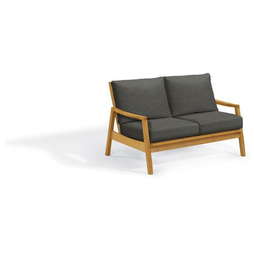 Siena Loveseat - Natural Shorea - Heather Black Polyester Cushion