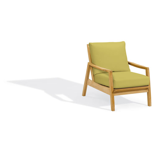 Siena Club Chair - Natural Shorea - Peridot Polyester Cushion