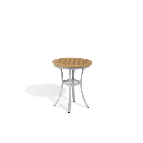 Oxford Garden Travira Natural Tekwood Top 24 Inch Round Cafe Bistro Table  With Powder Coated