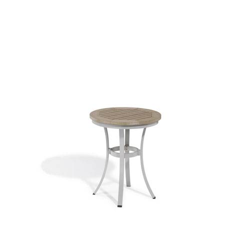 Travira Vintage Tekwood Top 24-Inch Round Cafe Bistro Table with Powder Coated Aluminum Frame