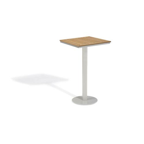 Travira Natural Tekwood Top 24-Inch Square Bar Table with Powder Coated Aluminum Frame