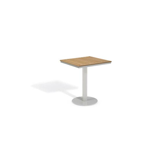 Oxford Garden Travira Natural Tekwood Top 24 Inch Square Bistro Table With  Powder Coated Aluminum