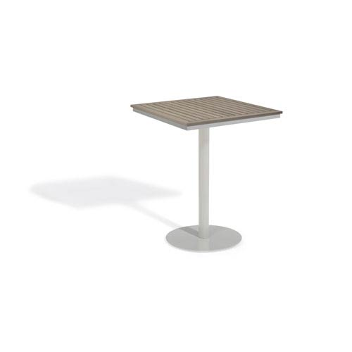 Travira Vintage Tekwood Top 32-Inch Square Bar Table with Powder Coated Aluminum Frame