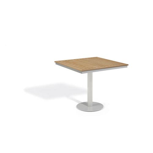 Travira Natural Tekwood Top 34-Inch Square Bistro Table with Powder Coated Aluminum Frame